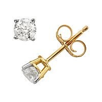 10k Gold 1/4 ctT.W. Round-Cut Diamond Stud Earrings