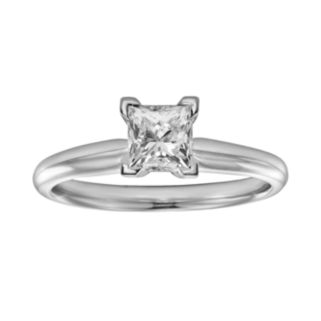 IGL Certified Princess-Cut Diamond Solitaire Engagement Ring in 14k White Gold (1 ct. T.W.)