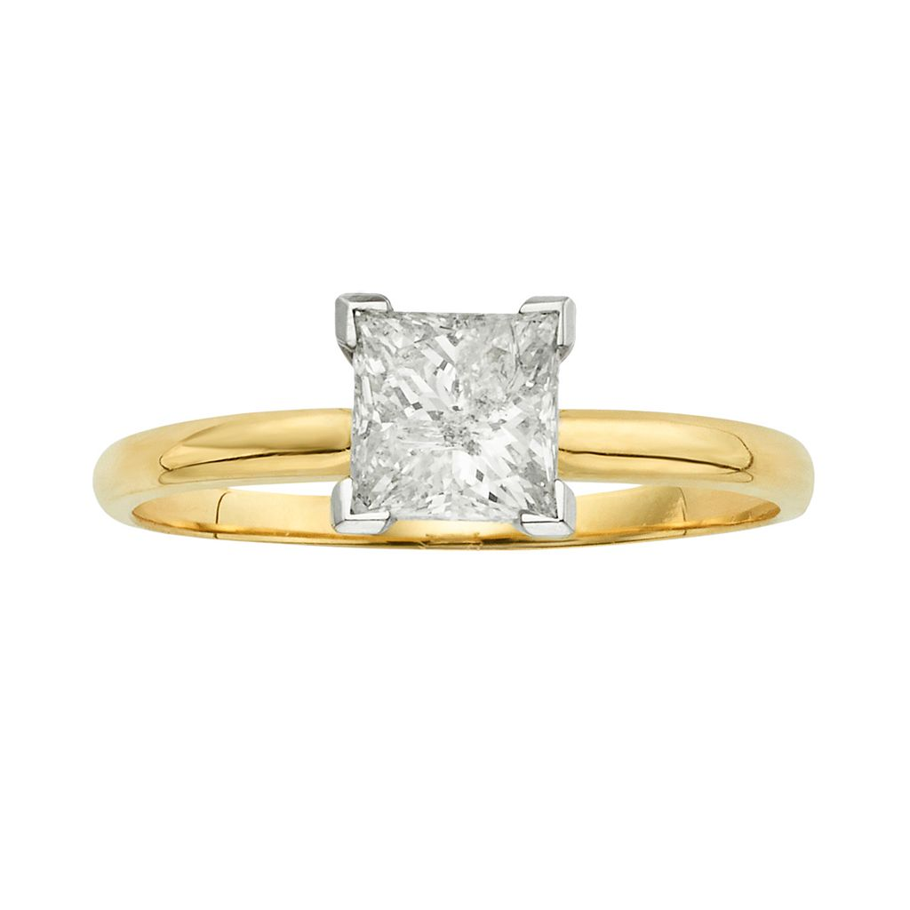 IGL Certified Princess-Cut Diamond Solitaire Engagement Ring in 14k Gold (1 ct. T.W.)