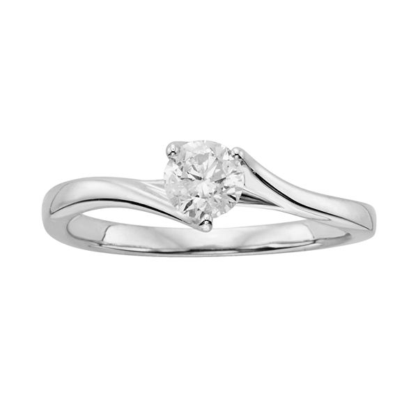 Round Cut Diamond Solitaire Bypass Engagement Ring In 14k White Gold 1 Ct T W