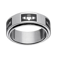 Black Ion-Plated Stainless Steel & Stainless Steel Claddagh Spinner Band - Men