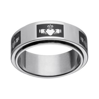 Black Ion-Plated Stainless Steel and Stainless Steel Claddagh Spinner Band - Men