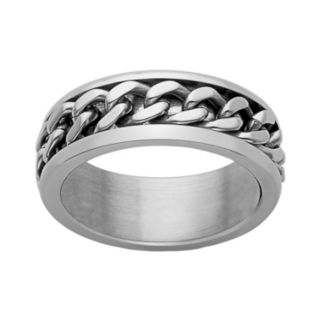 Stainless Steel Curb Chain Spinner Band - Men