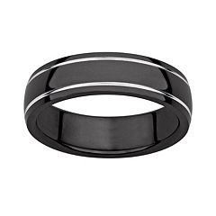 Black Ion-Plated Titanium & Titanium Grooved Band - Men
