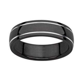 Black Ion-Plated Titanium and Titanium Grooved Band - Men
