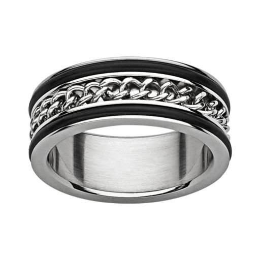 Titanium and Stainless Steel Curb Chain Spinner Band - Men
