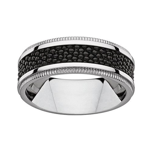 Titanium & Textured Black Resin Band - Men