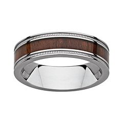 Titanium & Wood Milgrain Band - Men