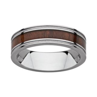 Titanium and Wood Milgrain Band - Men