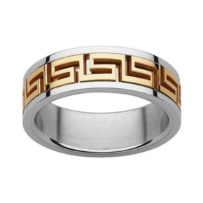 Yellow Ion-Plated Stainless Steel and Stainless Steel Greek Key Spinner Band - Men