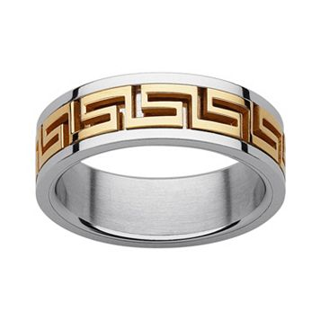 Yellow Ion-Plated Stainless Steel & Stainless Steel Greek Key Spinner Band - Men