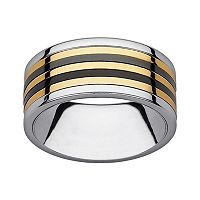 Black & Yellow Ion-Plated Stainless Steel & Stainless Steel Striped Spinner Band - Men