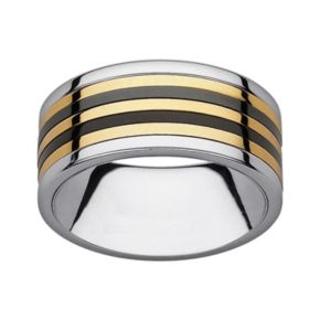 Black and Yellow Ion-Plated Stainless Steel and Stainless Steel Striped Spinner Band - Men