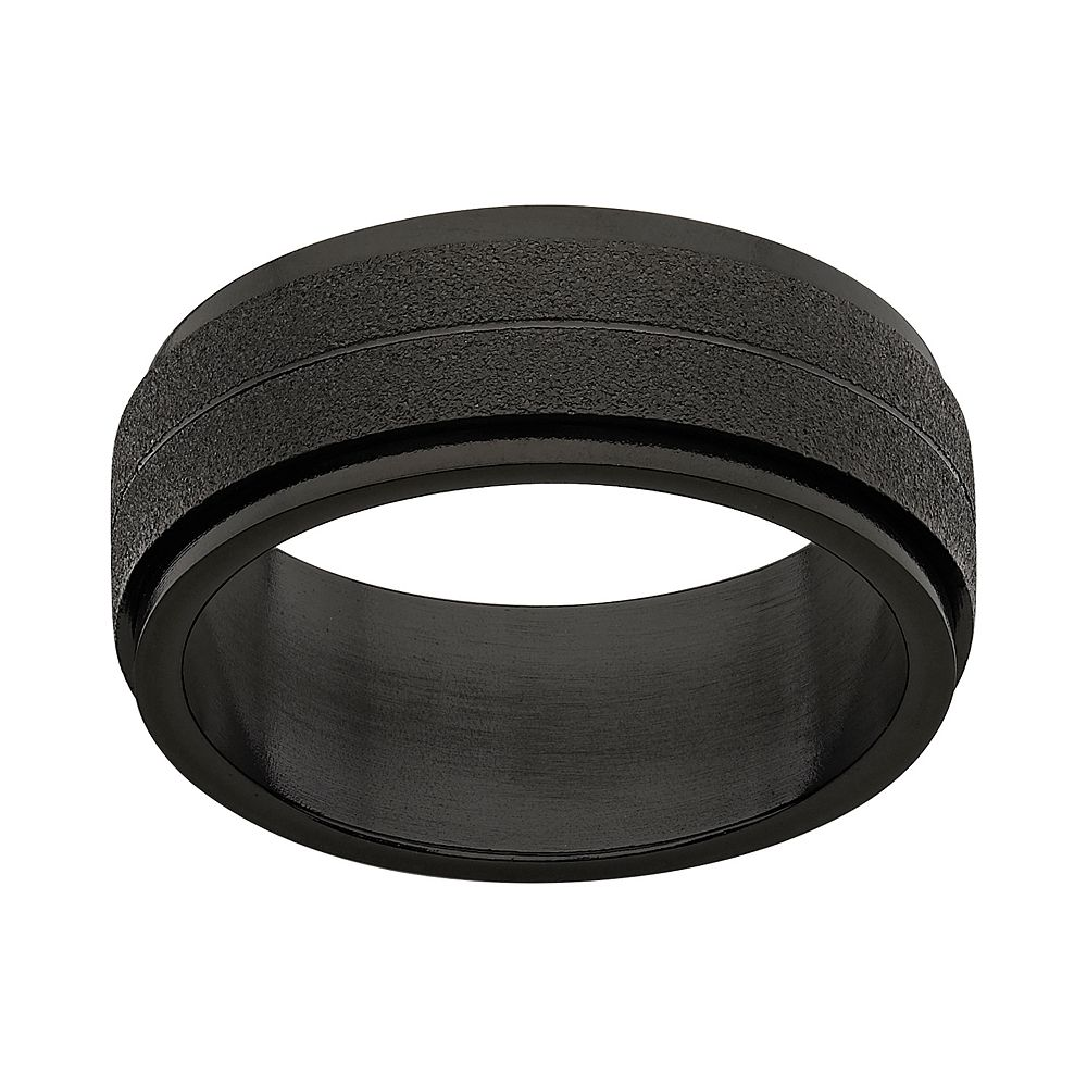 Black Ion-Plated Stainless Steel Frosted Spinner Band - Men