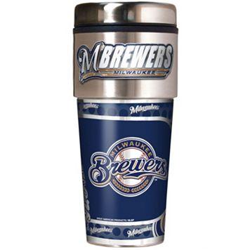 Milwaukee Brewers Stainless Steel Metallic Travel Tumbler