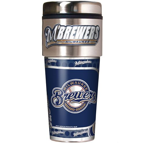 Milwaukee Brewers Stainless Steel Metallic Travel Tumbler