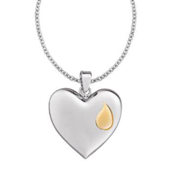 Sterling Silver Memorial Reversible Heart Pendant