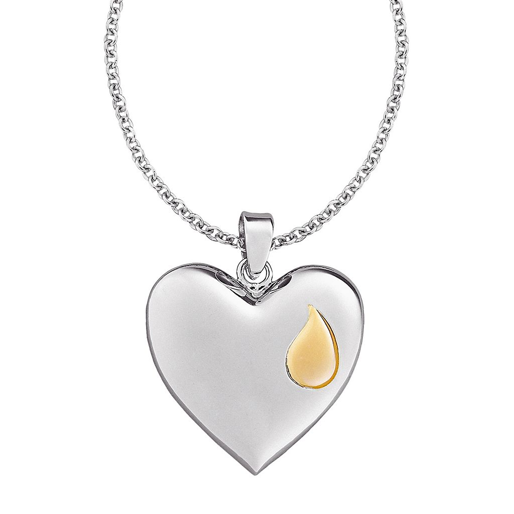 Sterling Silver Memorial Reversible Heart Pendant