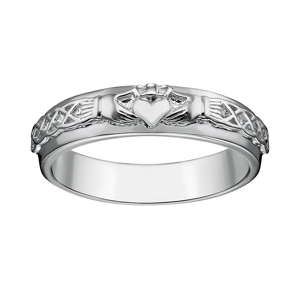 ring at gold irish ladies wide bands claddagh wedding band corrib