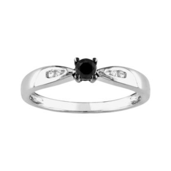 Stella Grace Round-Cut Black and White Diamond Engagement Ring in Sterling Silver (1/5 ct. T.W.)