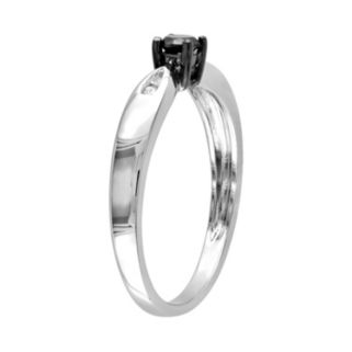 Round-Cut Black and White Diamond Engagement Ring in Sterling Silver (1/5 ct. T.W.)