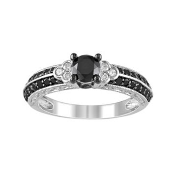Round-Cut Black & White Diamond Engagement Ring in Sterling Silver (1 ct. T.W.)