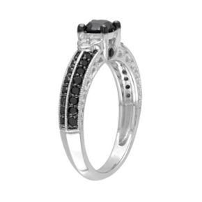 Round-Cut Black and White Diamond Engagement Ring in Sterling Silver (1 ct. T.W.)