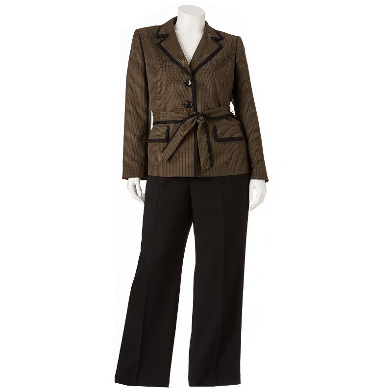 Gloria Vanderbilt Plaid Suit Jacket and Pants Set - Women's Plus
