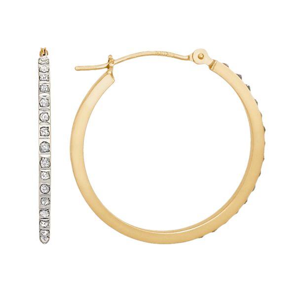 Diamond Fascination 14k Gold Diamond Accent Hoop Earrings