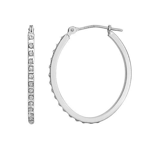 Diamond Fascination 14k Gold Diamond Accent Oval Hoop Earrings