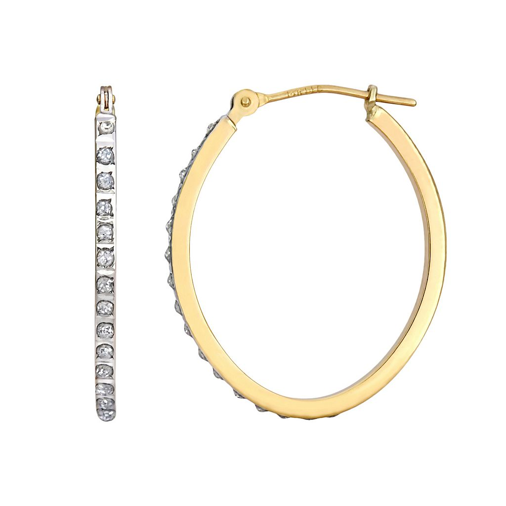 Diamond Fascination 14k Gold Diamond Accent Oval Hoop Earrings