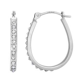 Diamond Fascination 14k Gold Diamond Accent Pear Hoop Earrings