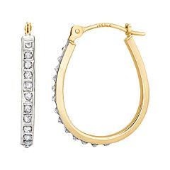 Diamond Fascination 14k Gold Diamond Accent Pear Hoop Earrings