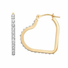 Diamond Fascination 14k Gold Diamond Accent Heart Hoop Earrings