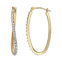 Diamond Fascination 14k Gold Diamond Accent Wavy Oval Hoop Earrings