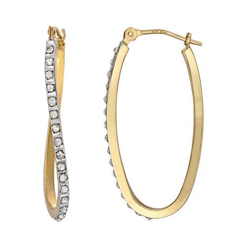 Diamond Fascination 14k Gold Diamond Accent Wavy Oval Hoop Earrings