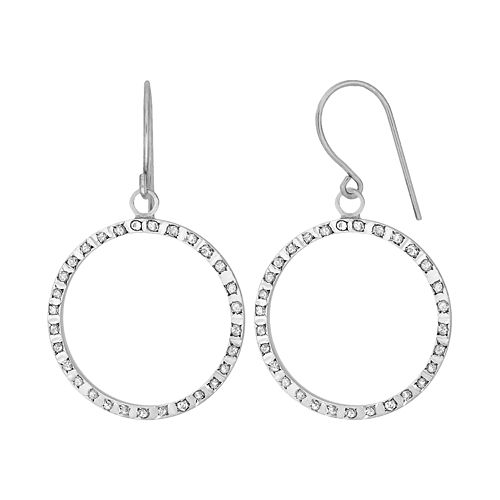 Diamond Fascination 14k Gold Diamond Accent Hoop Drop Earrings