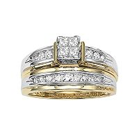 Cherish Always Princess-Cut Diamond Engagement Ring Set in 14k Gold Two Tone (1/2 ct. T.W.)