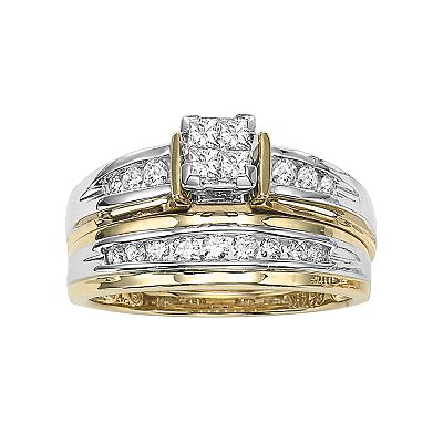 Cherish Always 14k Gold Two-Tone 1/2-ct. T.W. Princess-Cut Diamond Ring Set