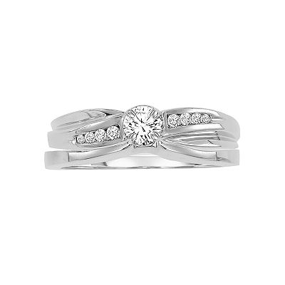 Cherish Always 14k White Gold 1/5-ct. T.W. Round-Cut Diamond Ring Set