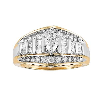 10k Gold and Rhodium 1-ct. T.W. Diamond Marquise-Cut Ring