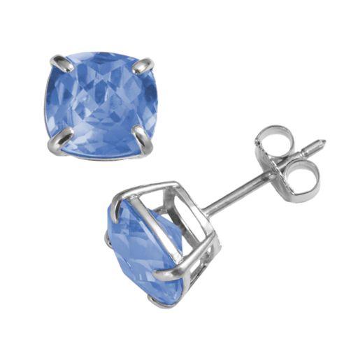 Sterling Silver Lab-Created Aquamarine Stud Earrings