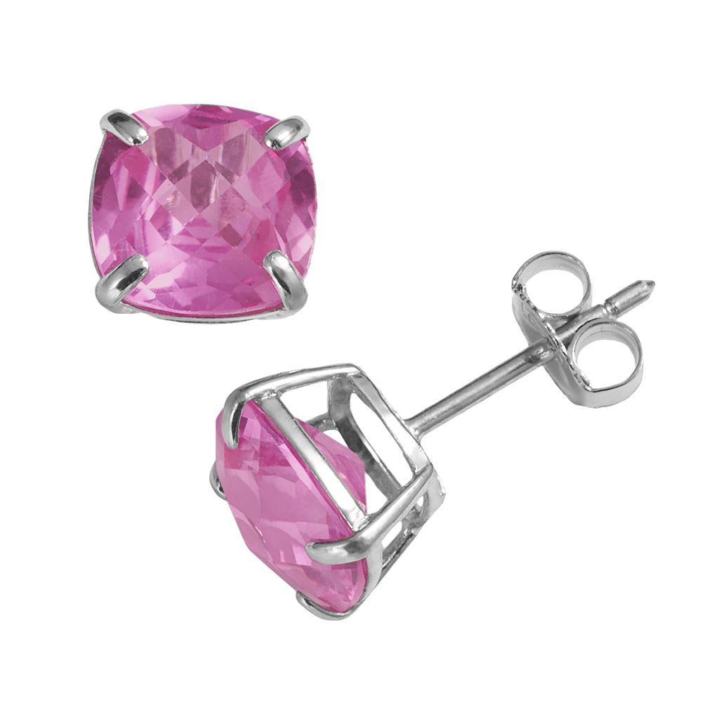 Sterling Silver Lab-Created Pink Sapphire Stud Earrings