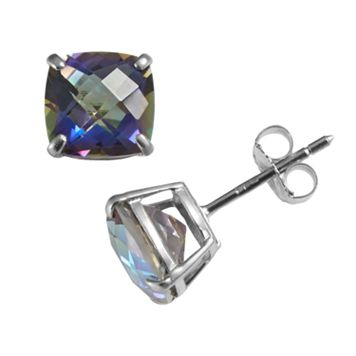 Sterling Silver Rainbow Blue Quartz Stud Earrings