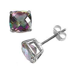 Sterling Silver Rainbow Quartz Stud Earrings