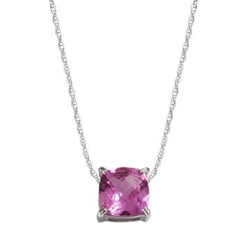 Sterling Silver Lab-Created Pink Sapphire Pendant