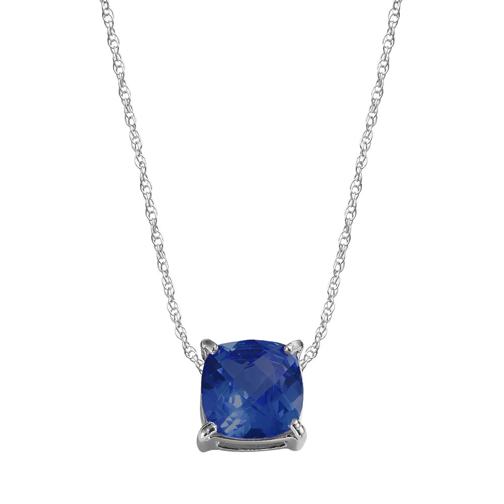 Sterling Silver Lab-Created Sapphire Pendant