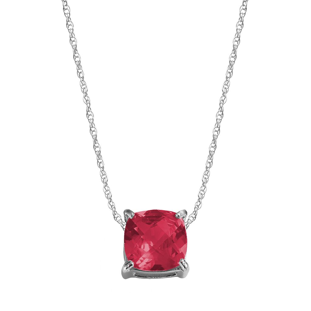 Sterling Silver Lab-Created Ruby Pendant
