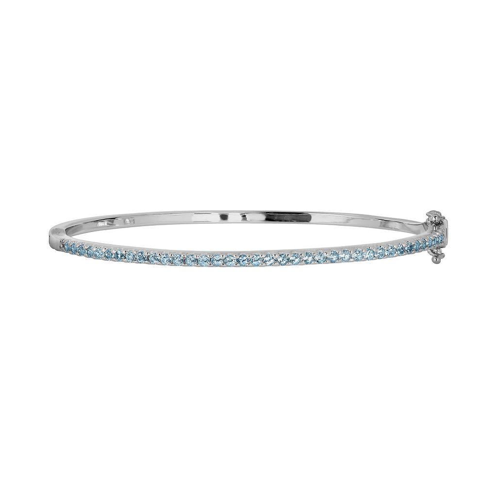 Oro Leoni Sterling Silver Blue Topaz Bangle Bracelet - Made with Genuine Swarovski Gemstones