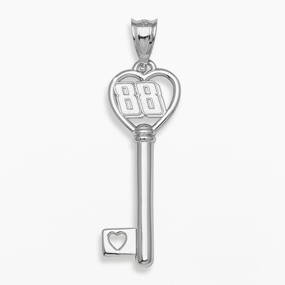 "Insignia Collection NASCAR Dale Earnhardt Jr. Sterling Silver ""88"" Heart Key Pendant"